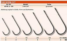 Maruto Haken Worm Cut mit Öhr Größe 5/0