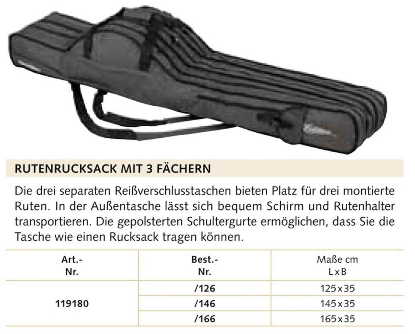 Balzer Rutenrucksack mit 2 Fächern 1,25m 119170125 Rutenfutteral 125cm