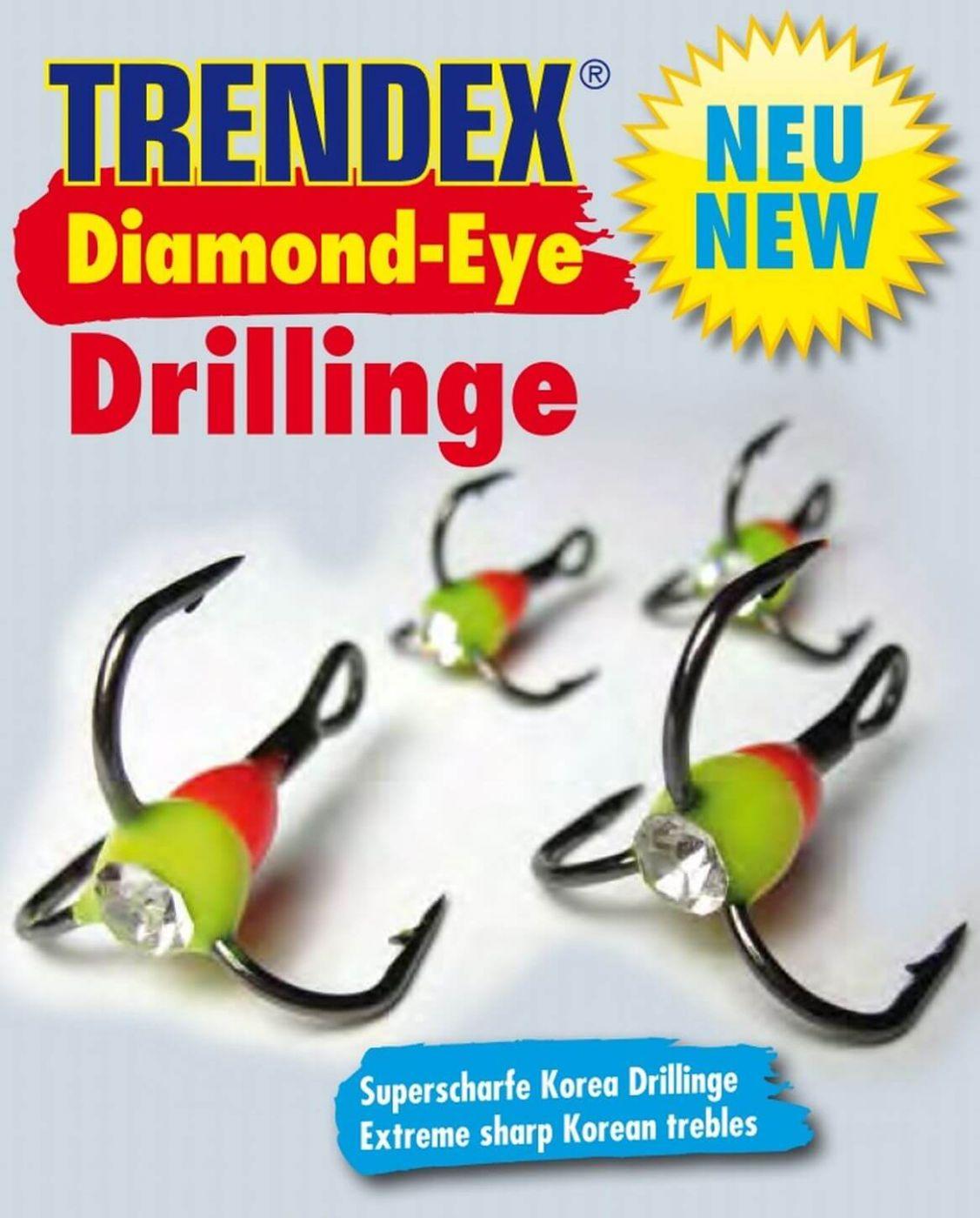 Kleines Angelzubehör Trendex Diamond-Eye Drillinge Gr.10