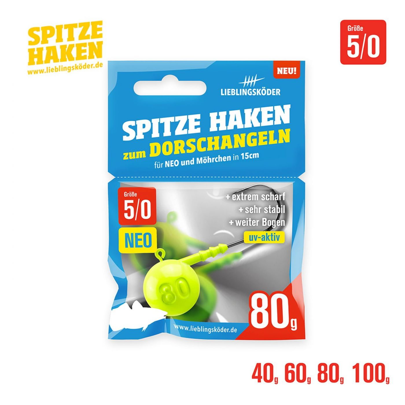 2//0 mit 5 g 4 Stück Gr Relax Premium Jig Haken von Balzer
